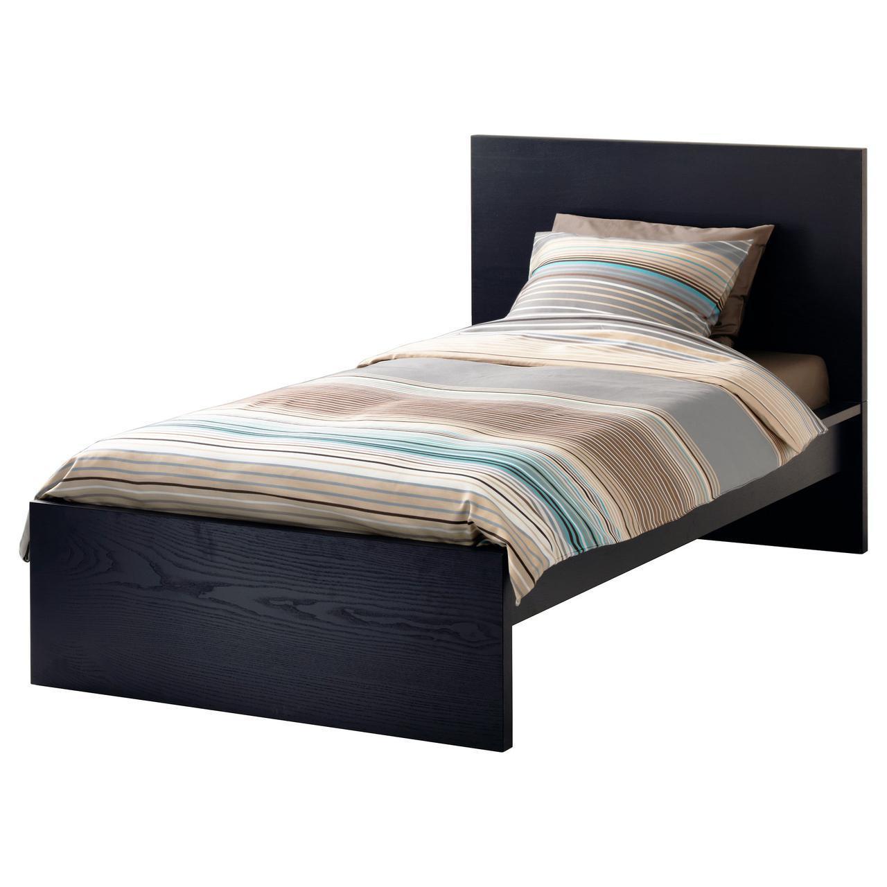 IKEA MALM (390.095.61)MALM КАРКАС кровати, высокий, черно-коричневый, Luröy, 90x200 см