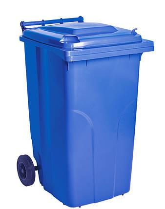 Бак для мусора на колесах с ручкой 240 литров синий, фото 2