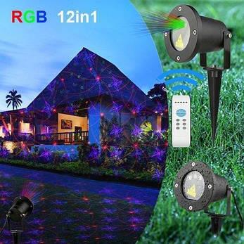 Лазерний проектор STAR SHOWER три кольори 12в1, фото 2