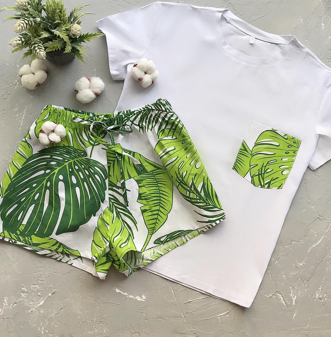 Пижама футболка и шорты L-XL листья зеленый