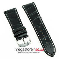 Кожаный ремешок для часов 26 мм черный с застежкой 22 мм (07953), фото 1