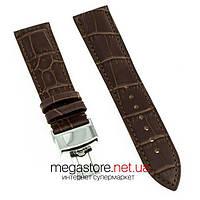 Кожаный ремешок для часов RATE коричневый 20 мм с застежкой серебро 18 мм (07956), фото 1