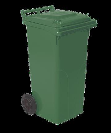 Бак для сміття на колесах з ручкою 120 л зелений, фото 2