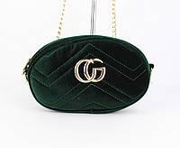 Велюровый клатч на цепочке, сумочка на пояс Gucci 2038-4 зеленая, фото 1
