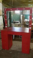 Красный визажный стол с 2мя линиями подсветки, гримерный стол.  Модель V86/1