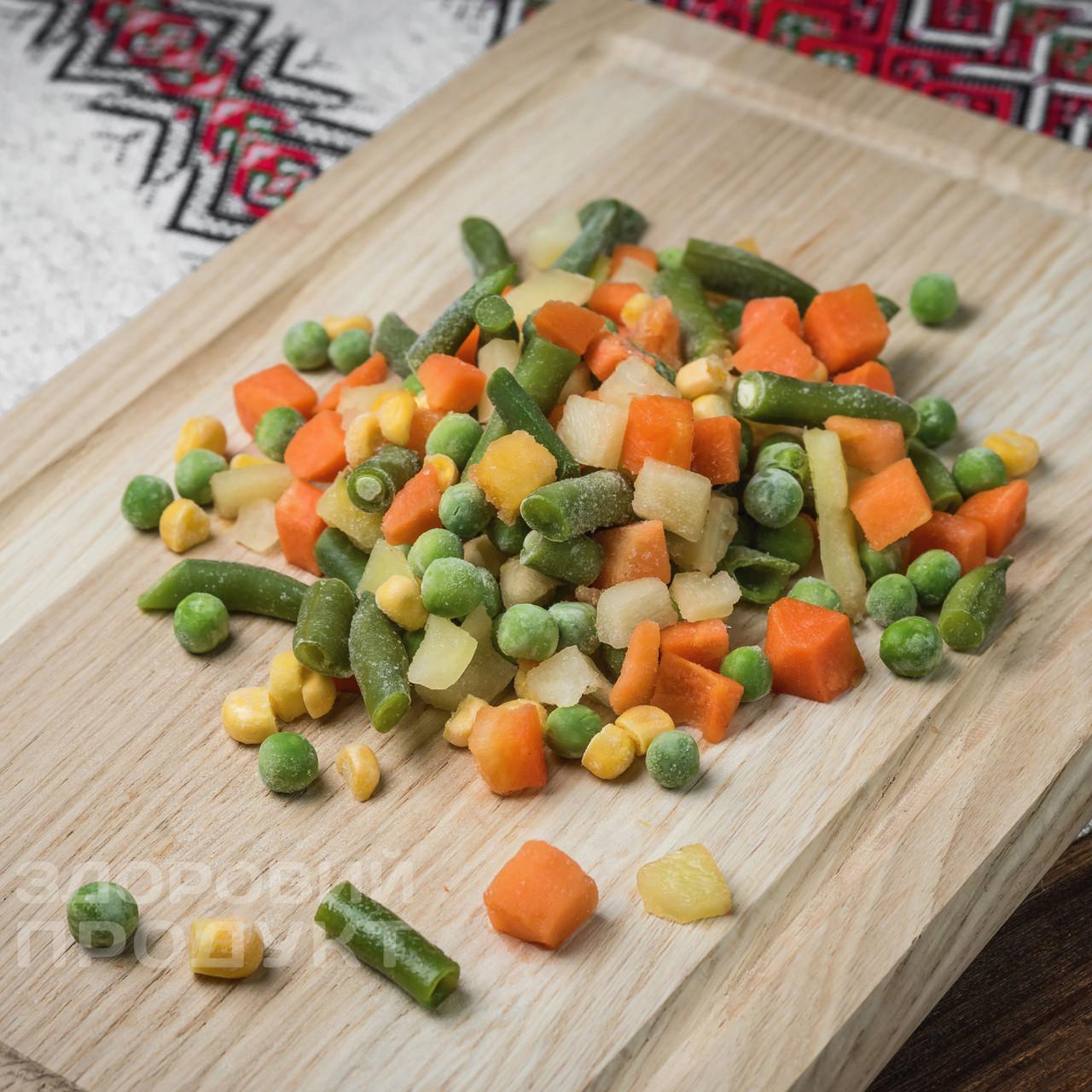 """Суміш """"Мексиканська"""" ( морква, перець червоний, квасоля стручкова, горох, кукурудза) заморожена"""
