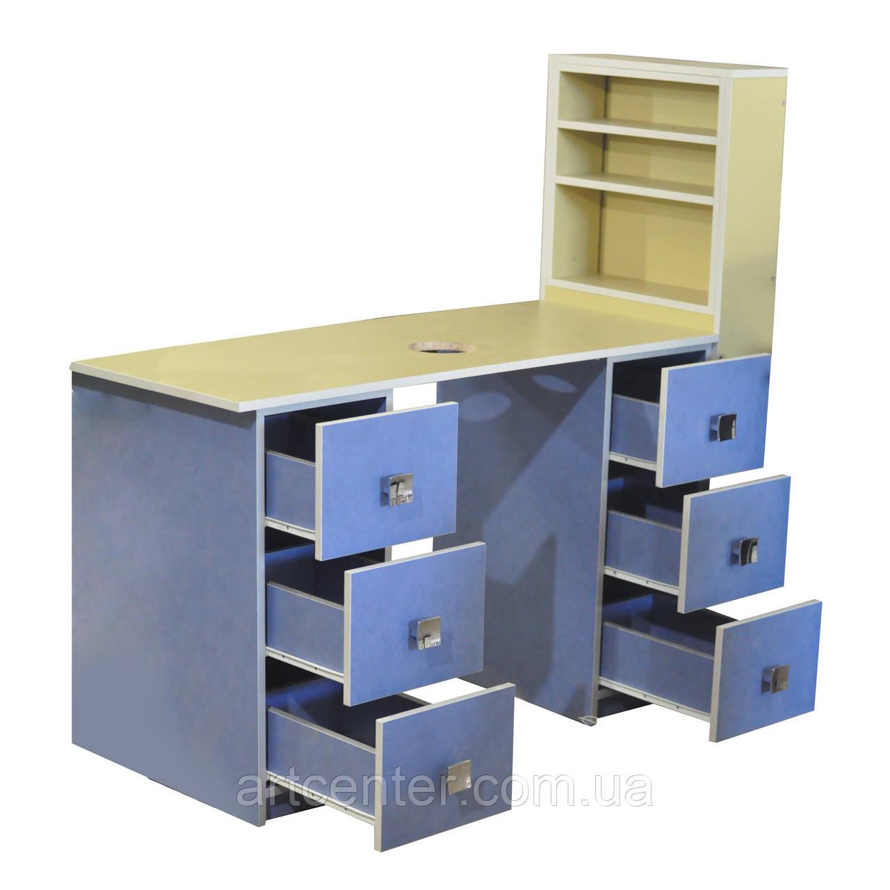 Стол маникюрный профессиональный с двумя тумбами, витрины для лаков для салона красоты