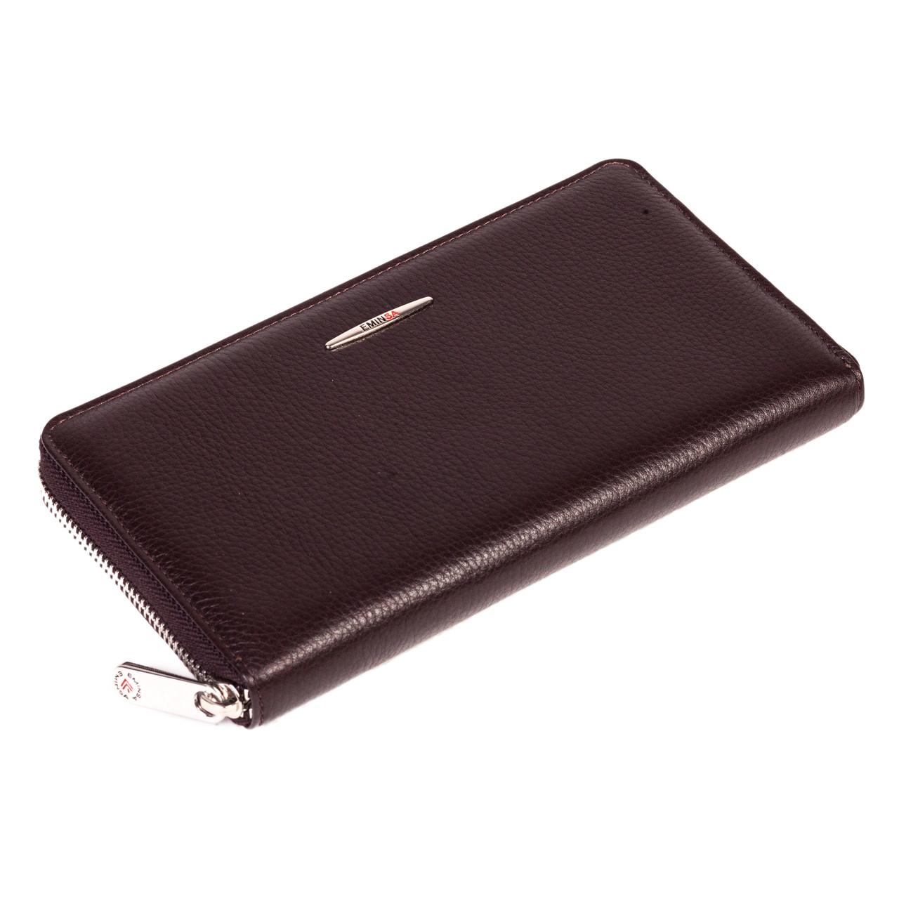 Женский кошелек Eminsa 2152-18-3 кожаный темно коричневый