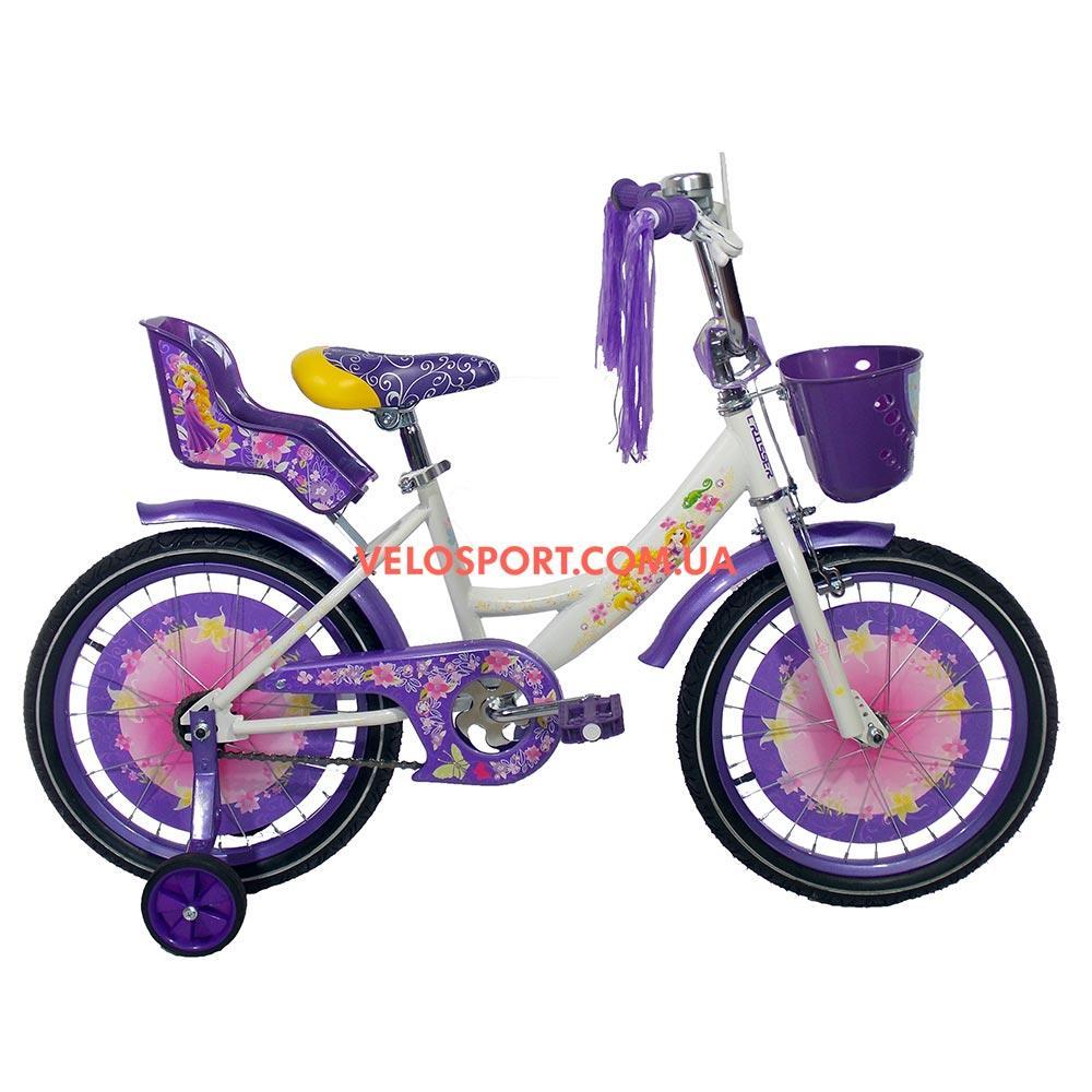 Детский велосипед Azimut Girls 16 дюймов бело-фиолетовый