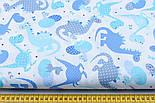 Лоскут ткани с дракончиками с полосочками и горошком бирюзовые, голубые, синие на белом №1861, фото 3