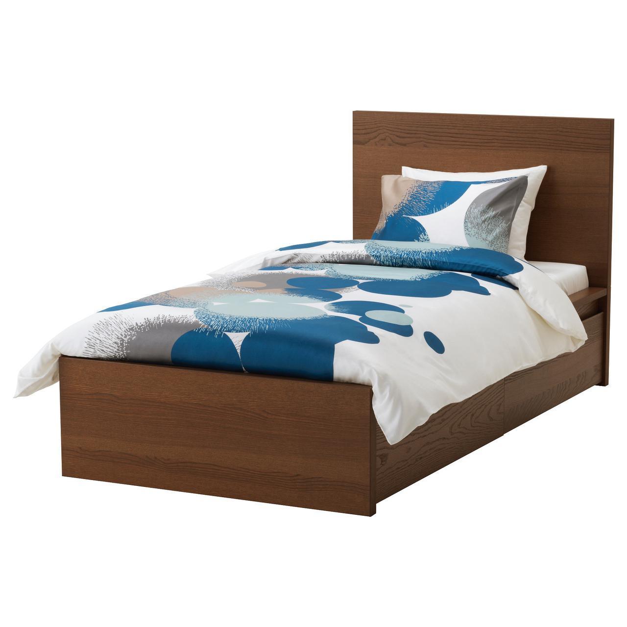 IKEA MALM (191.571.09) Кровать, высокая, 2 контейнера, белый витраж, Luroy