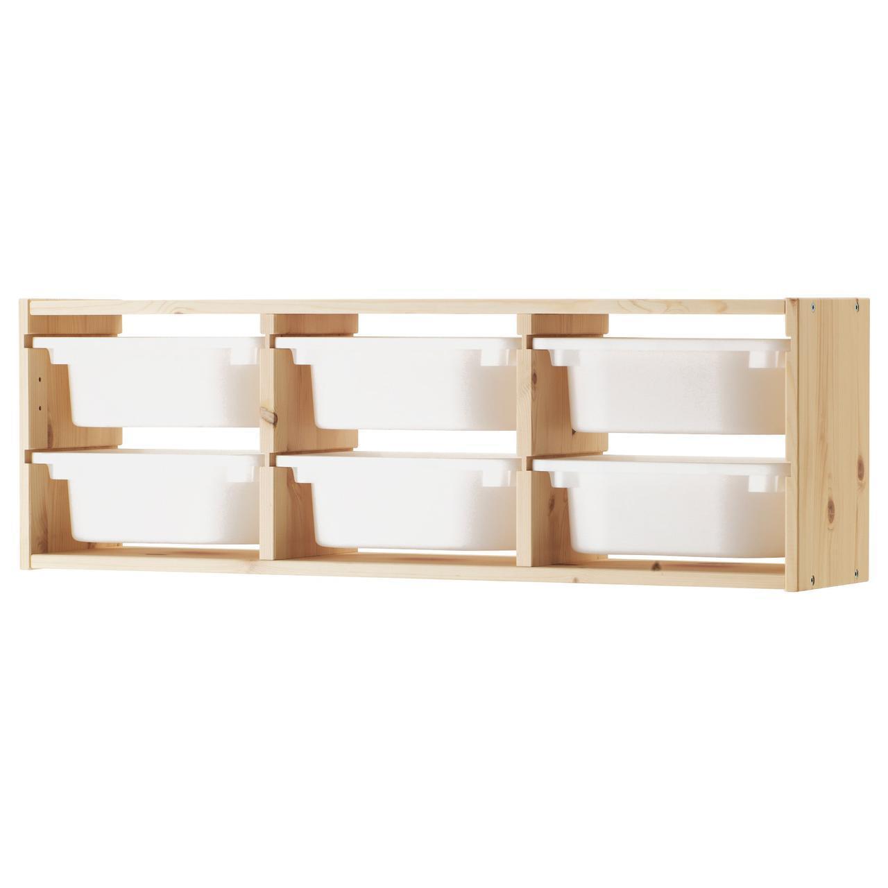 IKEA TROFAST (491.023.04) Настенный шкаф, сосна, светлая сосна, окрашенный белый, черный