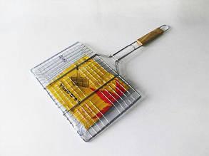 Барбекю нержавейка с деревянной ручкой 60*35 см