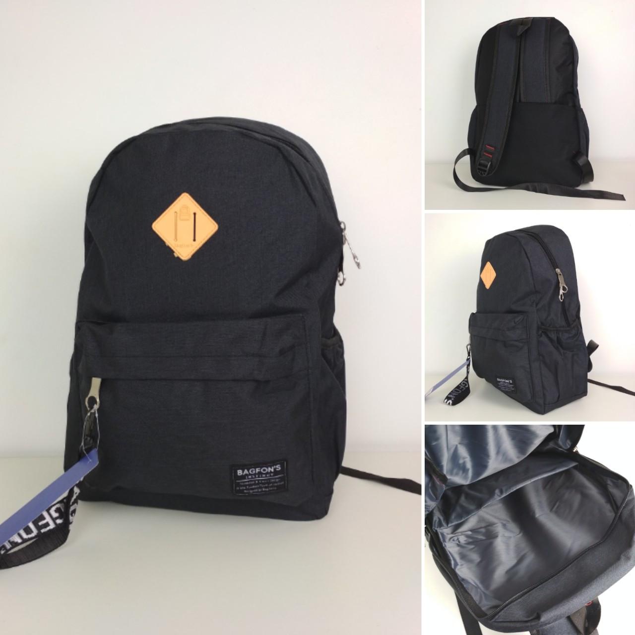 Черный текстильный городской рюкзак для подростка 45*30*18 см