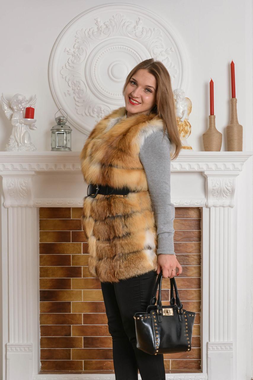 Удлиненный жилет-майка из натуральной лисы
