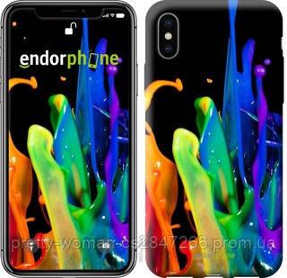 """Чехол на iPhone XS брызги краски """"3957c-1583-19414"""""""