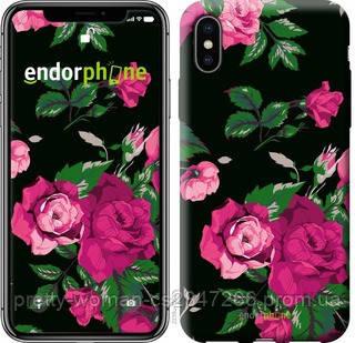 """Чехол на iPhone X Розы на черном фоне """"2239c-1050-19414"""""""