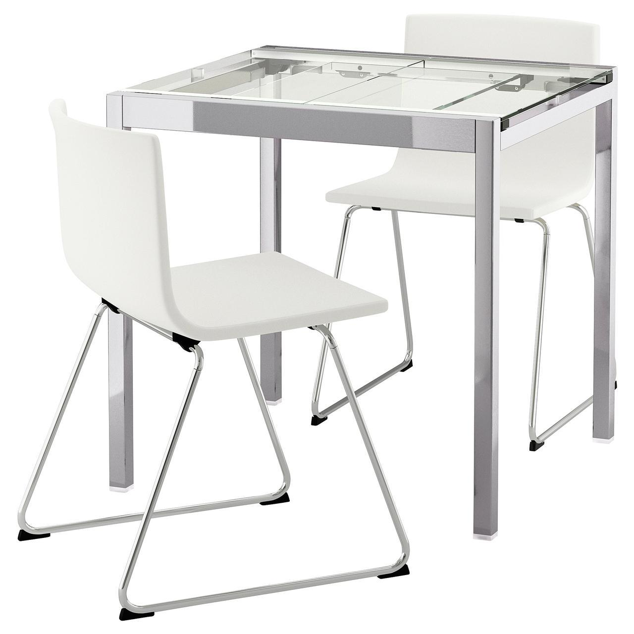 IKEA GLIVARP / BERNHARD (992.598.25) Стол и 2 стула, прозрачные, майки белые