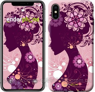 "Чехол на iPhone X Силуэт девушки ""2831c-1050-19414"""