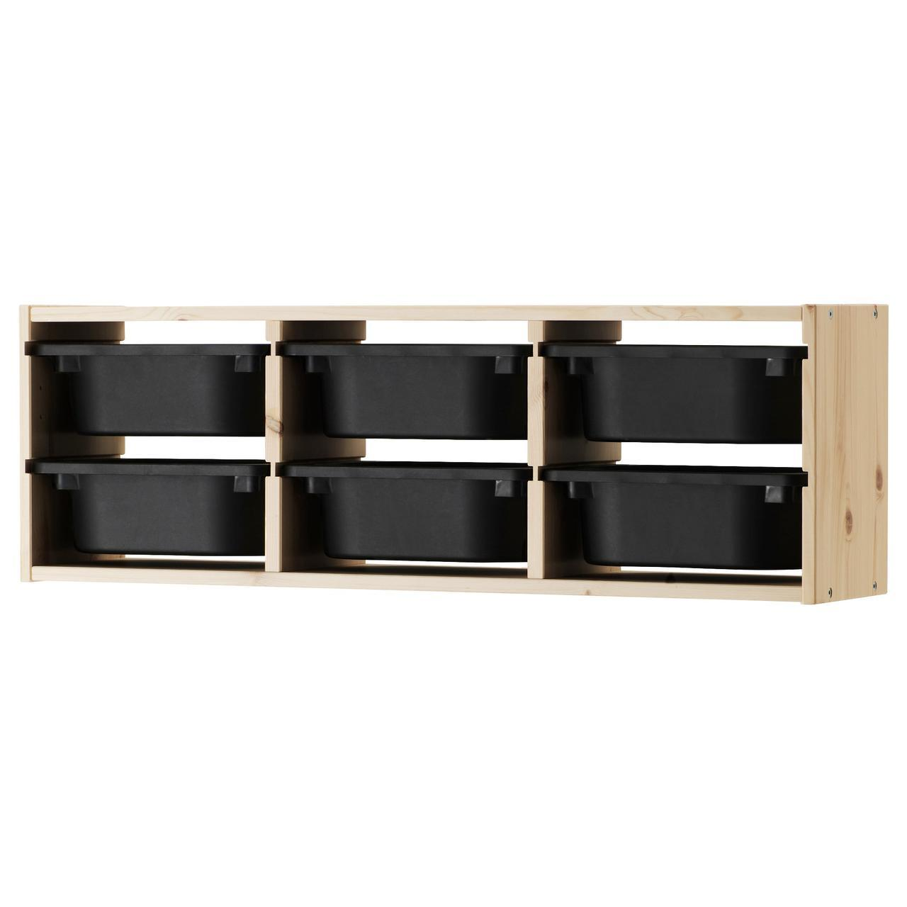 IKEA TROFAST (891.023.40) Настенный шкаф, сосна, светлая сосна, окрашенный белый, черный