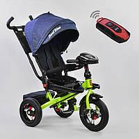 Трехколесный велосипед Best Trike 6088 F синий усиленная рама поворотное сидение надувные колеса музыка и свет