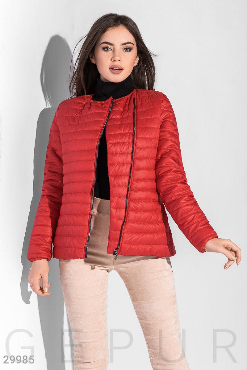 Стеганая куртка-косуха с асиметричной молнией