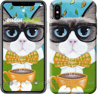 """Чехол на iPhone X Cat&Coffee """"4053c-1050-19414"""""""