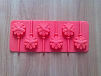 Форма силиконовая на планшете 9*14 см из 6-ти для леденцов Цветы