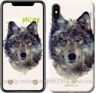 """Чехол на iPhone X Волк-арт """"4163c-1050-19414"""""""