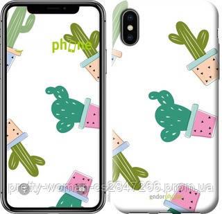 """Чехол на iPhone X Кактусы в горшочках """"3968c-1050-19414"""""""