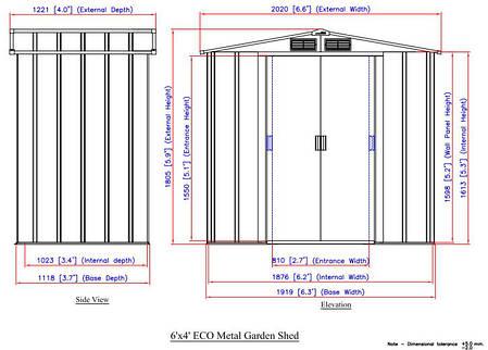 Сарай металлический ECO 202x122x181 см серый с белым, фото 2