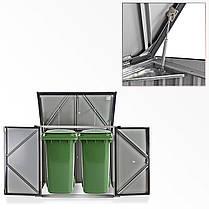 Бокс для мусорных контейнеров серый с белым, фото 3
