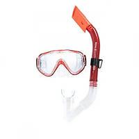 Набір для плавання маска, трубка Bestway, полікарбонату, силікон, червоний (24028-(rd)), фото 1