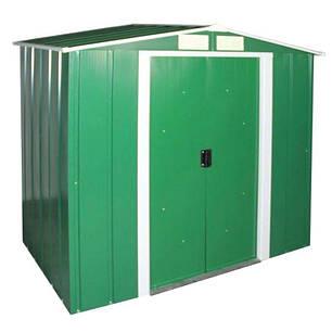 Сарай металевий ECO 202x122x181 см зелений з білим, фото 2