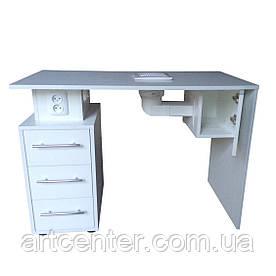 Маникюрный стол однотумбовый с тремя выдвижными ящиками, розетками