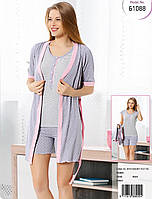 Пижама тройка: майка + шорты + халат, женская пижама 100% хлопок. Размеры: 42-44, 46-48.