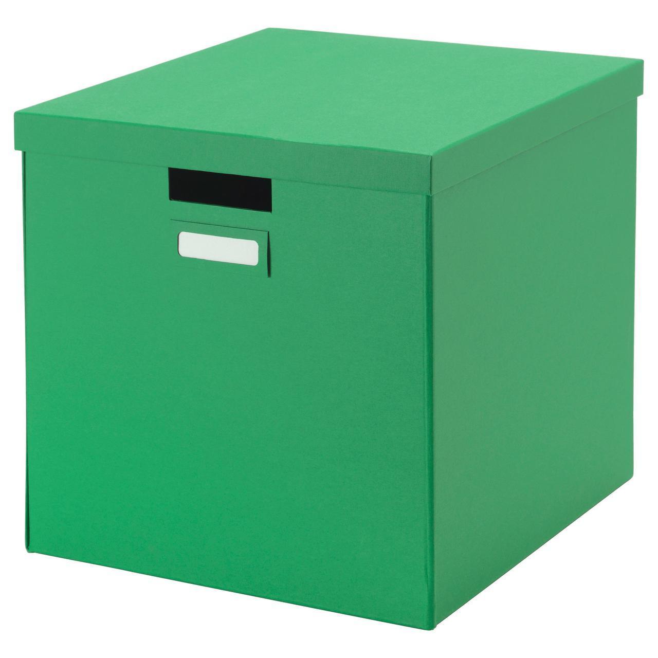 IKEA TJENA (802.919.91) Коробка с крышкой, зеленая