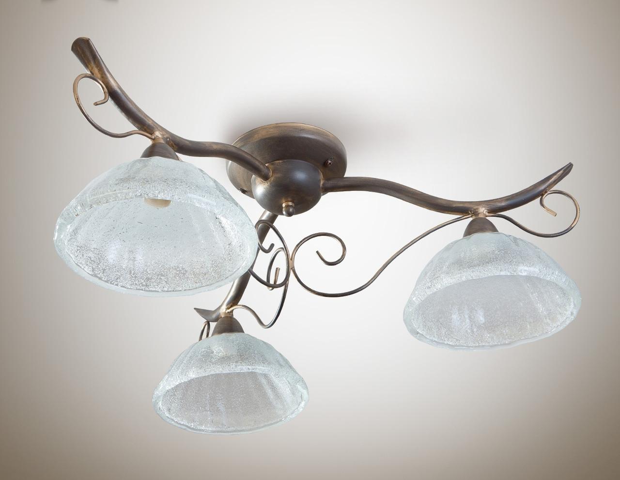 Люстра кованная классическая для спальни, кухни, небольшой комнаты, 3-х ламповая 16503