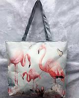 Сумка городская пляжная летняя Фламинго