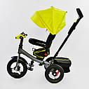 Трехколесный велосипед Best Trike 6088 F желтый усиленная рама поворот сидения надувные колеса музыка и свет, фото 3
