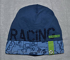 Демисезонная шапка для мальчика Racing голубая (AJS, Польша)