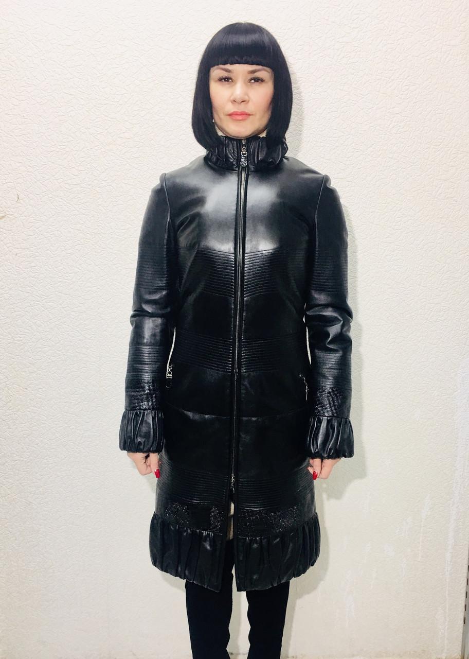 20f4d7cfac3 Пальто кожаное натуральное женское ADAMO черное - Интернет-магазин