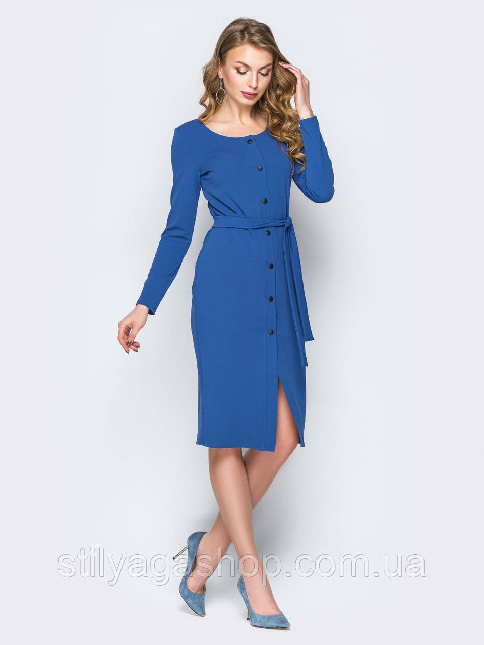44/S Платье-футляр с длинным рукавом застегивается на пуговицы по планке и поясом в комплекте