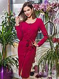 44/S Платье-футляр с длинным рукавом застегивается на пуговицы по планке и поясом в комплекте, фото 7
