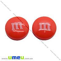 Кабошон из полимерной глины M&M's оранжевый, 14 мм, 1 шт (KAB-011709)
