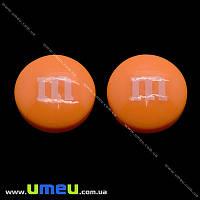 Кабошон из полимерной глины M&M's оранжевый, 14 мм, 1 шт (KAB-011710)