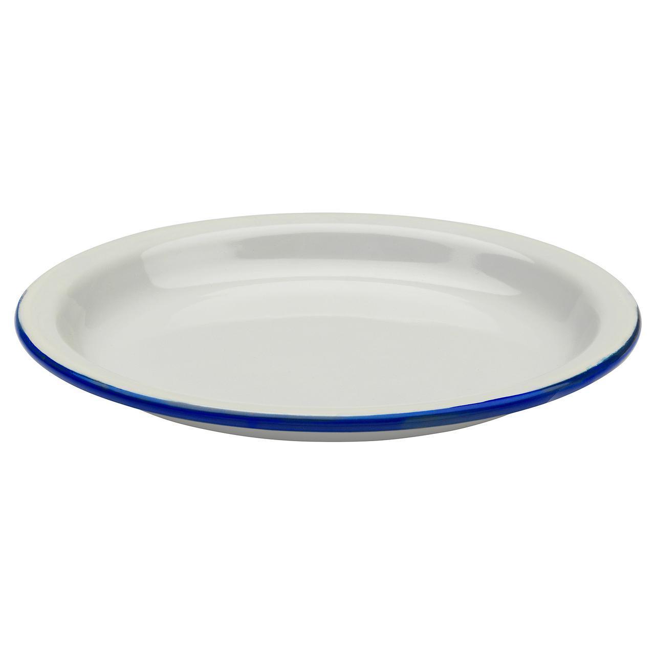 IKEA EGENDOM (803.910.14) Тарелка, светло-серый, темно-синий
