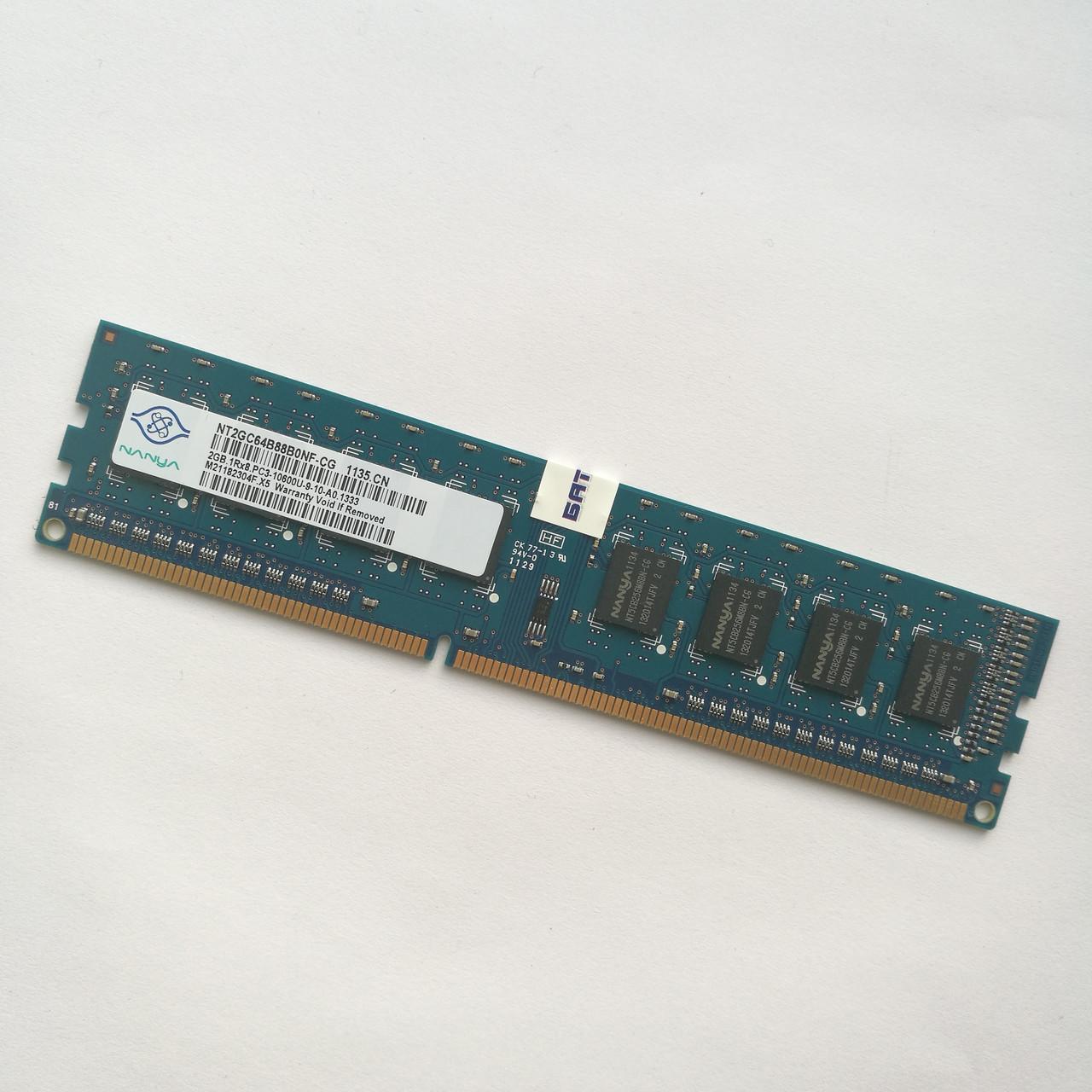 Оперативная память Nanya DDR3 2Gb 1333MHz PC3-10600U 1R8 CL9 (NT4GC64B8HG0NF-CG) Б/У