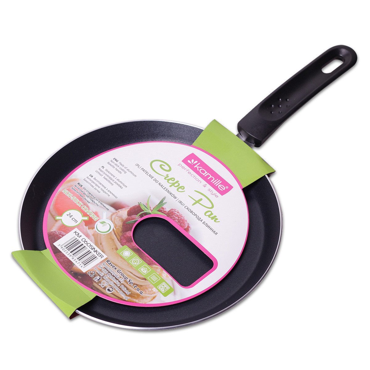 Сковорода блинная Kamille 24см с керамическим покрытием для индукции и газа KM-0605INKER