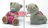 """Копилка керамическая (h-16м) """"Тедди"""" флок (цвет - серый)"""